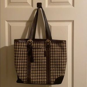 Coach tweed and leather purse